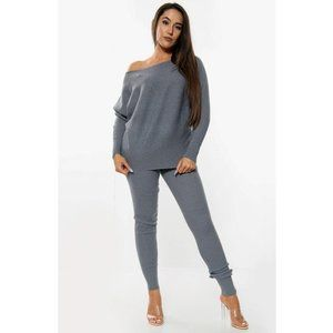 NWT - Two-Piece Knit Leggings Set (Blue/Grey)